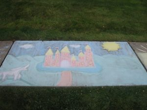 castle chalk drawing